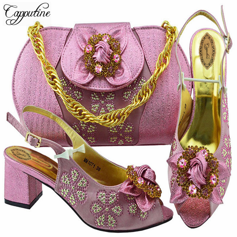купить Capputine New Fashion Italian Design Shoes And Bag Set Summer Style Woman High Heel 5.8CM Shoes And Bag Set For Party M1071 по цене 4188.65 рублей