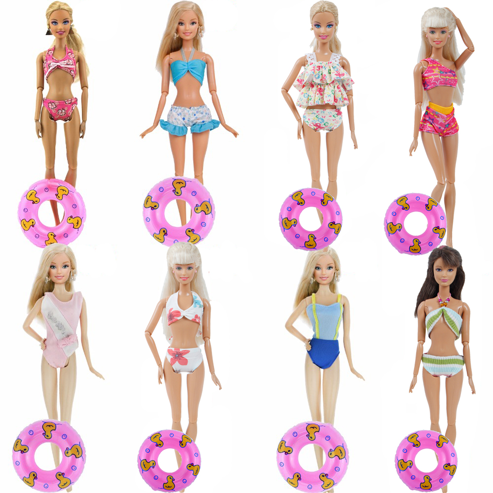 High Quality Swimsuit Mixed Style Swimwear Beach Party Wear Bikini + Swimming Rings Clothes For Barbie Doll Accessories Kids Toy