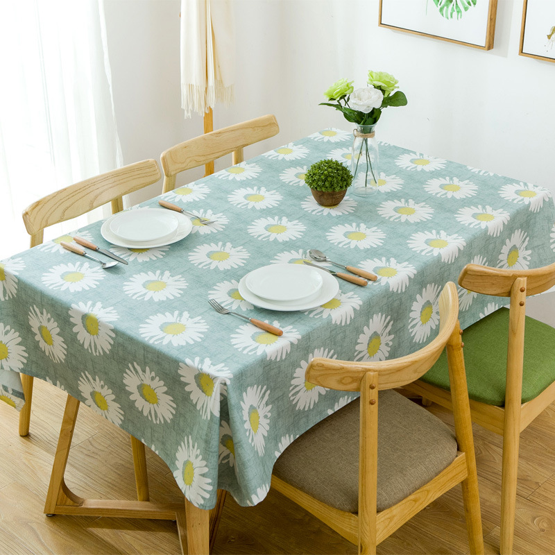 Pastoral Style Big Sunflower Print Canvas Table Cloth 1pcs Quality Dinner Tea End Table Cover Home Dustproof Tablecloth 3 Colors image
