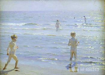 Decorative art Boys Bathing by Peder Severin Kroyer paintings for bedroom Hand painted High quality