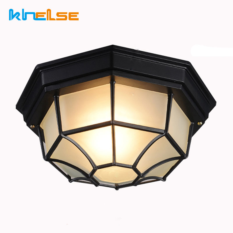 Frosted Glass Shade Retro Outdoor Lighting Bathroom Kitchen Balcony Ceiling Mounted Lamp 10w 15w Porch Lights Ip65 Garden E27 Led Outdoor Wall Lamps Aliexpress