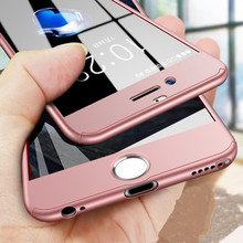 SHUOHU Luxury 360 Degree Phone Case for iPhone 6 6S 7 8 Plus Fundas Plastic Full Cover for iPhone X 10 Cases Coque with Glass