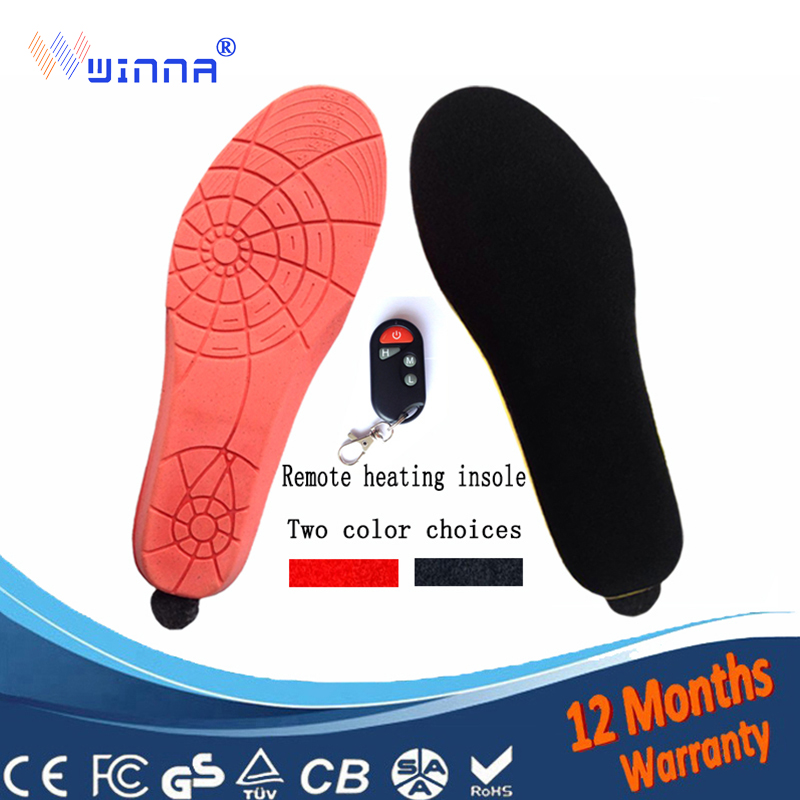 1800mAh Wireless Remote Type Battery Powered Heating Insoles RED EUR Women's Size 35-40#