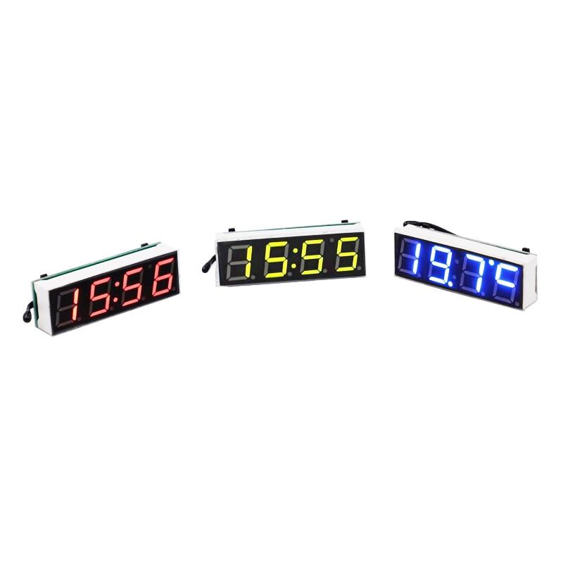 100 шт./лот цифровой светодиодный 3 в 1 Настольный модуль вольтметр DC5 ~ 30 В автомобильные трубки транспортного средства напряжение часы диспле...