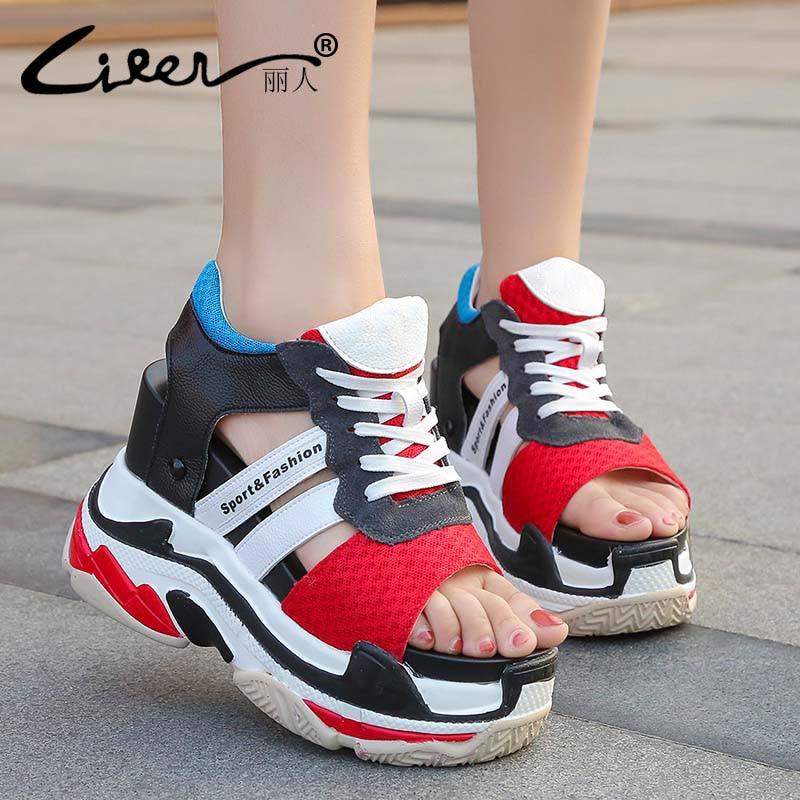 Liren 2018 New Arrival Platform Sandals Women Summer Open Toe Fashion High Heels Platform Wedge Women Shoes Female Sandals Women