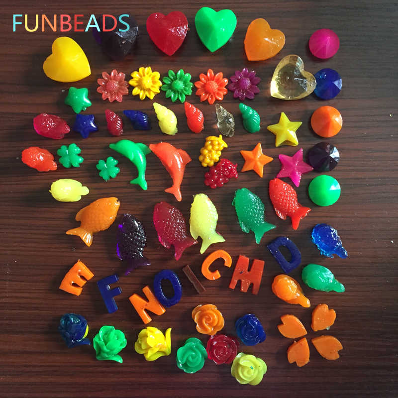 100g/lot Mixed Cartoon Shape Growing Water Balls Rainbow Color Easy Broken Toy Water Beads