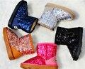Девушки Сапоги 2015 новые Kds зимние Сапоги для Девочек Bling блестка Дети снегоступы теплые Мальчики зимняя обувь обувь для девочек