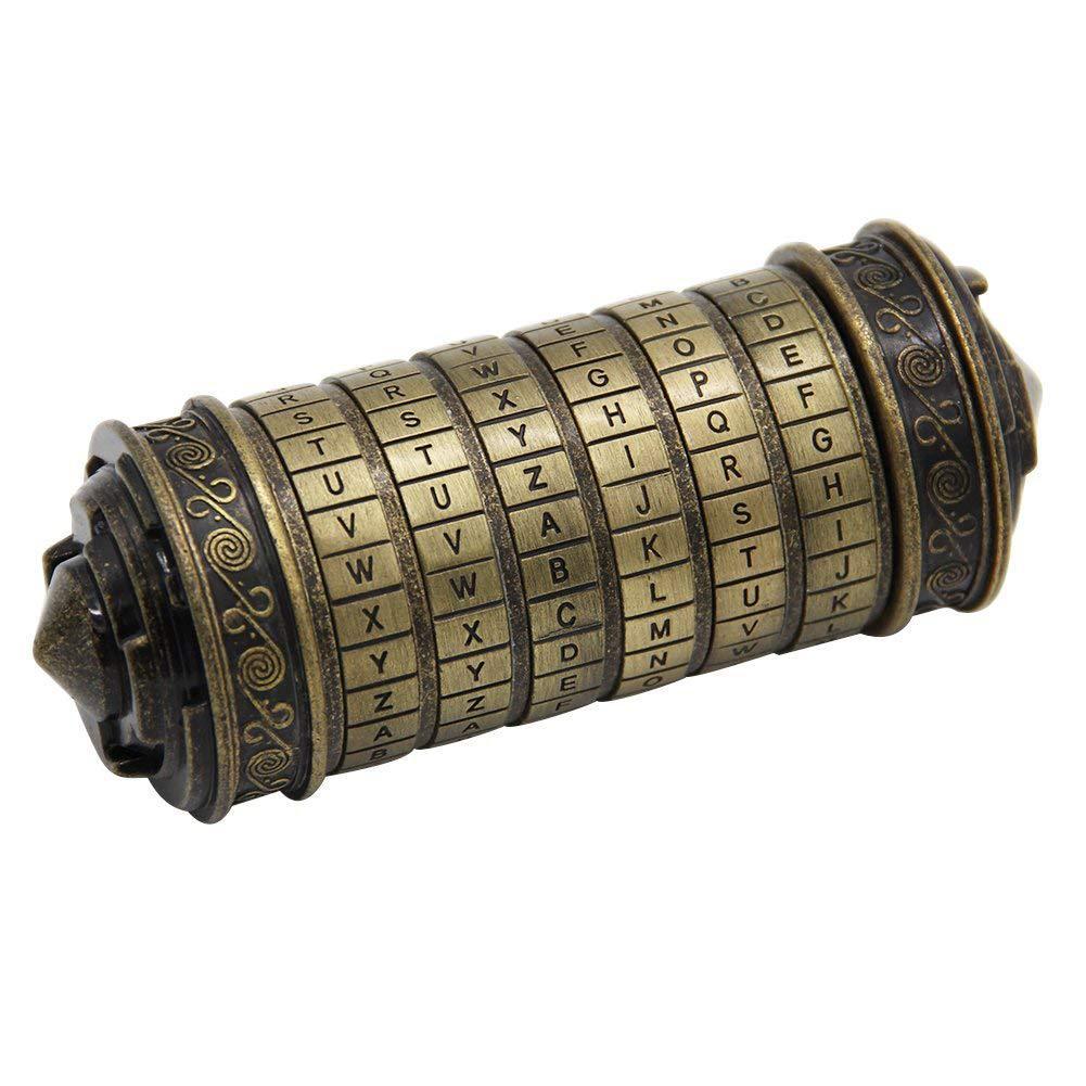 Leonardo da Vinci code jouets En Métal Cryptex serrures de mariage D'anniversaire cadeaux du Jour de Valentine cadeau Lettre Mot de Passe évasion chambre accessoires