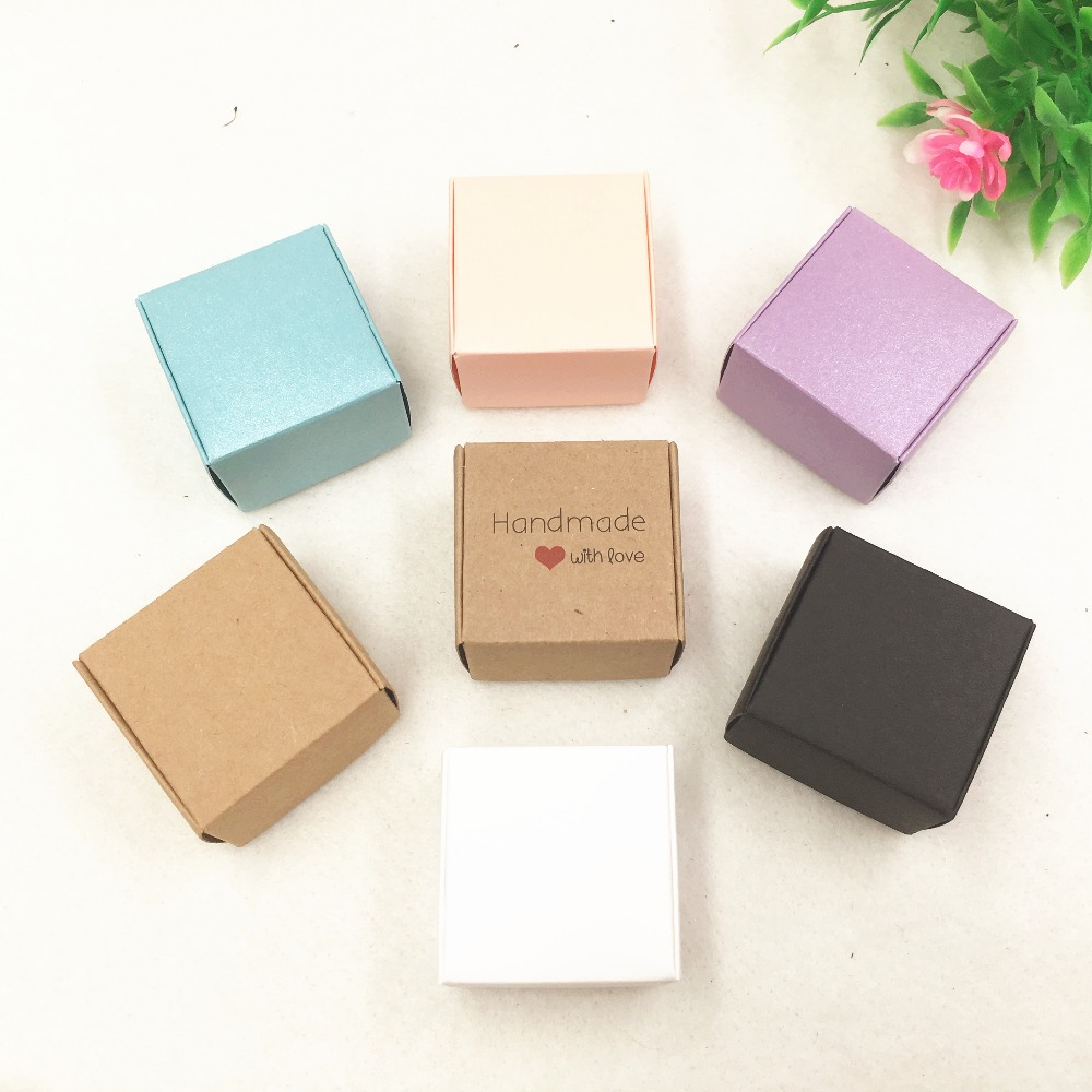 30pcs/lot Two Sizes Small Colorful Paper Box Kraft Cardboard Handmade Soap Box,Cute Gift Box, Jewelry/Candy Packaging Boxes