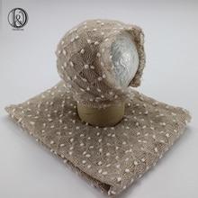 (75x50cm) Acrylic Knit Wraps Set (wraps plus hat) with Small Bobble Dot Style Newborn Photo Photography Props