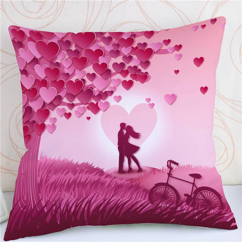 Cute Wedding Love Letters Pillow Case Plush Fabric Cushion Cover Throw Pillow Decorations Home Sofa Pillowcase 45cm*45cm