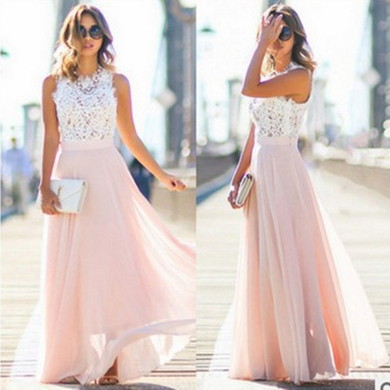 Maxi-Dress Beach Evening-Party-Dresses Boho Long Sleeveless Summer Ladies Lace Hollow-Out