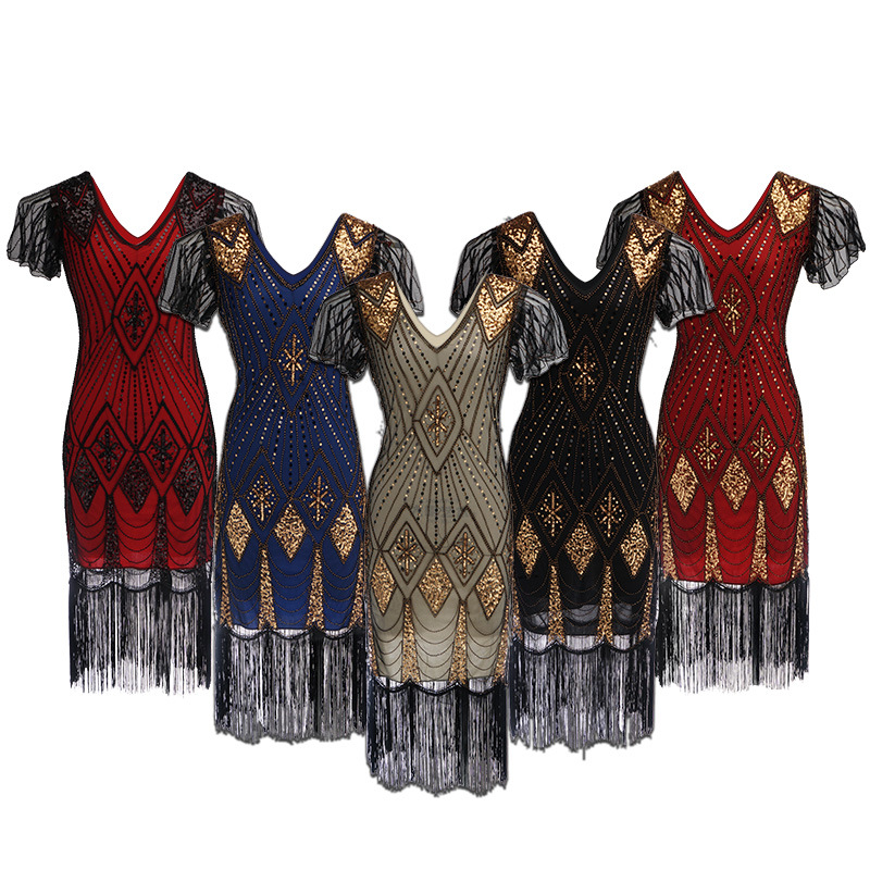 Embellished Beaded Sequin Dress Robe Vestidos Women 1920s Flapper Dress Vintage V Neck Butterfly Sleeve Long Great Gatsby Dress