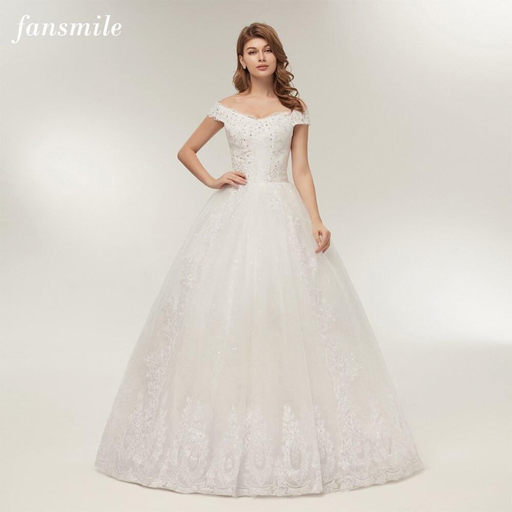 Anna Campbell 2019 Wedding Dresses: Fansmile Real Photo Customized Plus Size Wedding Dresses