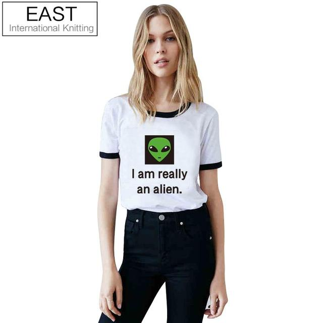 EAST KNITTING H744 Summer 2017 New Punk Women T Shirt Black White Crew Neck T-Shirt I AM REALLY AN ALIEN Printed Funny Tees Tops