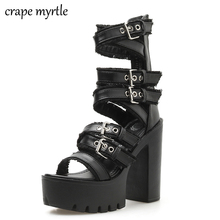 Ankle Strap Summer Fashion Women Sandals Open Toe Platform Shoes High Thick Heels Female Black Unique Party Shoes 35-40 YMA813 wetkiss summer ankle strap women sandals open toe platform shoes print footwear 2018 super high heels party fashion ladies shoes