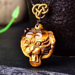 Подвеска JoursNeige, из натурального камня с желтым тигром, ручной работы, в виде головы тигра, для женщин и мужчин