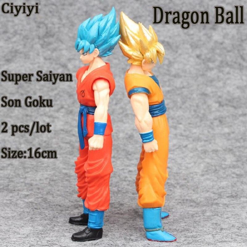 2 pièces/ensemble Dragon Ball Super Saiyan Son Goku bricolage Pvc affichage Jouet Anime Dragon Ball Z Son Goku modèle jouets chaud film et tv Jouet cadeau
