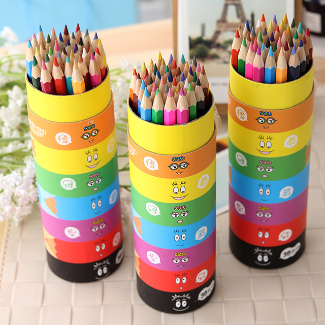 Free Shipping New 2015 children 36 colors pencil kid colored pencils creative stationery student toxic lead paint pen color