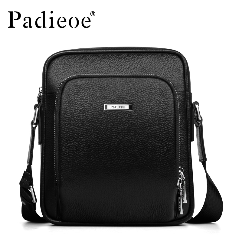 Padieoe Luxury Men' Shoulder Bag Genuine Cow Leather Messenger Bags Fashion Male Business Durable Crossbody bags Handbags