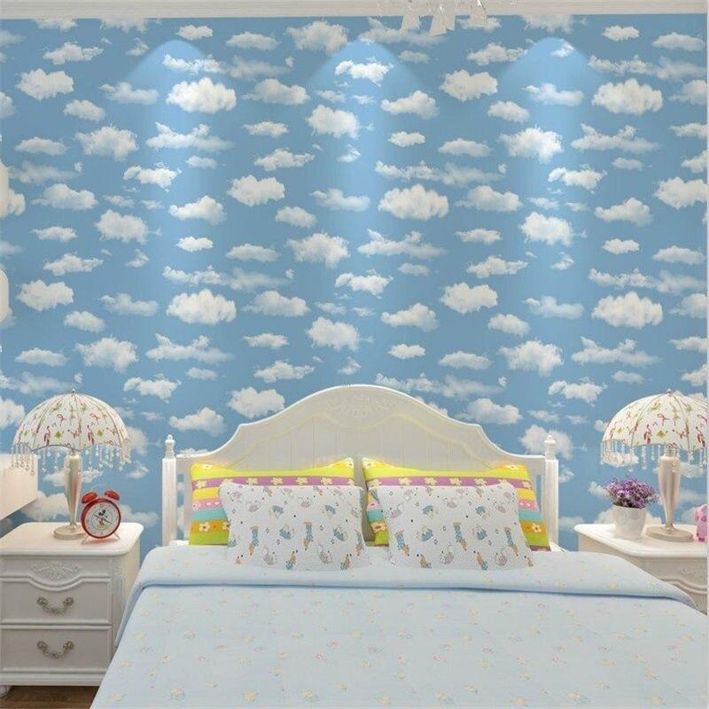 Bleu ciel baiyun enfants chambre papier peint chambre bleu sol zhonghai intissé papier peint rouleau PVC papier peint