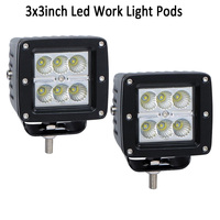 2x 18W 3 LED Work Light Bar Cube Pods Flood Spot Offroad Driving Fog Head Motor