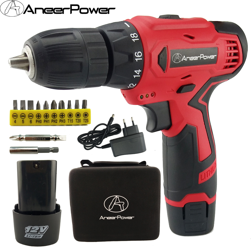 12v Tools Electric Screwdriver Double Speed Cordless Drill Battery Drill Mini Power Electric Drill Batteries Screwdriver Eu plug 12v cordless drill electric drill electric tools mini electric drilling eu plug battery drill electric screwdriver power tools