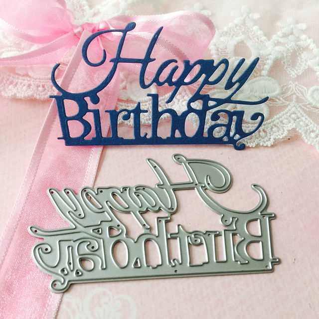 88x52mm happy birthday letter metal cutting die for scrapbooking handicraft embossing knife dies new diy photo