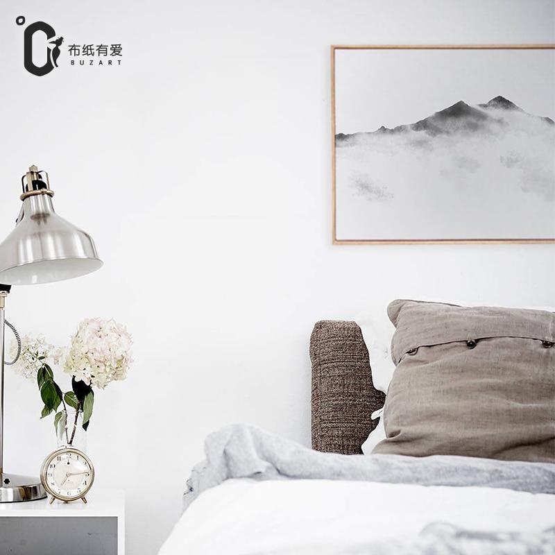 Horská čínská zenová malba pro obývací pokoj zeď černá abstraktní obrazy nástěnné umění tiskne domácí výzdoba bez rámu