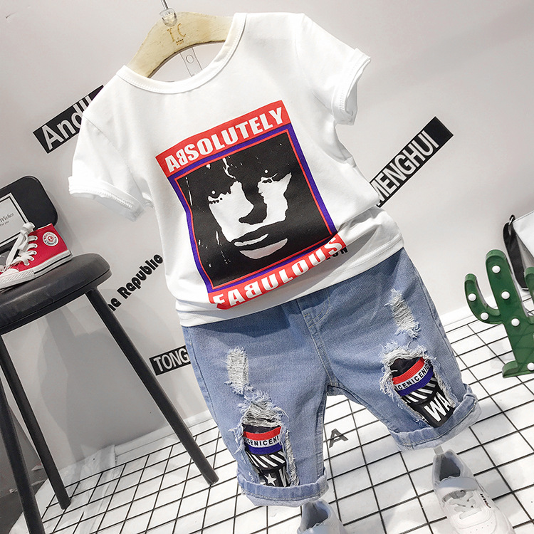 Childrens Wear 2018 Summer Baby kids Boys Sports casual Suit boy T-shirt + Hole jeans pants 2pcs Set Childrens Clothes 2-6yrs