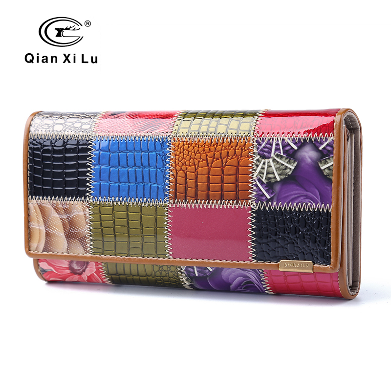 2017 New Fashion Patent Leather Women Wallet Female Hasp Purse Long Coin Purses Ladies Plaid Wallet Cowhide box gift maihui ladies cowhide long genuine leather wallet women with coin pocket card holder wallet national hasp purse note compartment