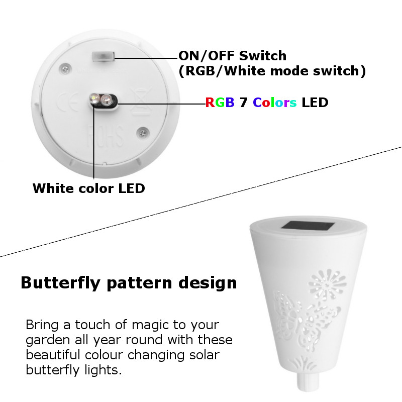 3Pcs Solar Power Butterfly Light Contorl 7 Color Changing RGB LED Lawn Light Outdoor Landscape Saves Energy LED Garden Lamp