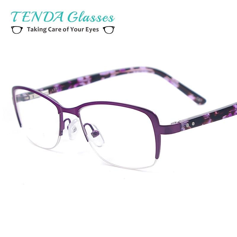 Montura de gafas de Media Llanta de Metal Grandes Mujeres de La ...