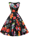2016 Summer Sexy Women's Vintage Floral Rockabilly Tutu Pinup Sleeveless Bodycon Evening Party Clubwear Formal Dress Plus Size