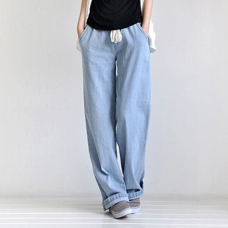 New 2017 spring wide leg pants women jeans loose casual denim trousers full length S M L XL free shipping  SL-48D1 краска в д finncolor oasis hall