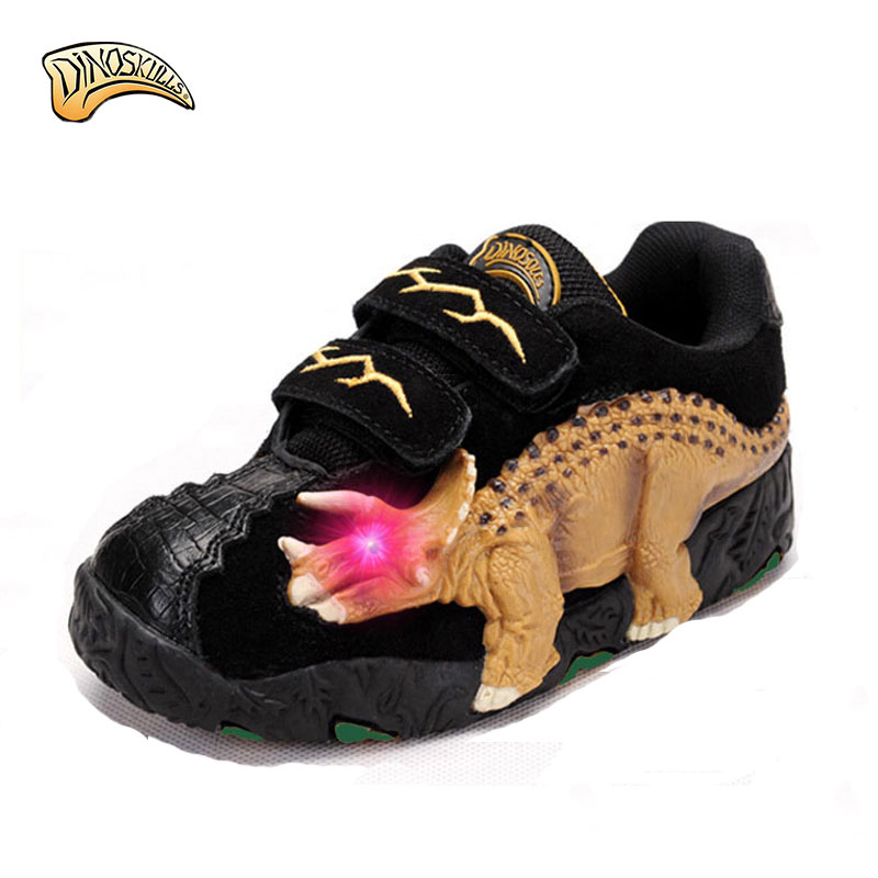Dinoskulls Casual Shoes Kids Leather Boys Sneakers Sport Shoes Fashion Lighted Up Children 2017 Running Shoes 3D Dinosaur Shoes