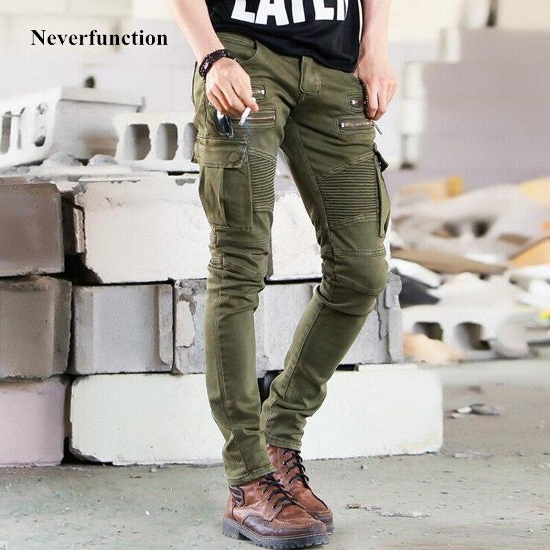 2018 Men Fashion Hip Hop Elastic Trousers Skinny Biker Jeans Slim Fit Jeans Brand Designer Motorcycle Biker Denim Pants Homme