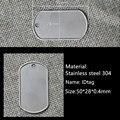 Shiping libre 100 unids/lote pet cat dog id tag ejército Militar En Blanco Etiquetas de Acero Inoxidable de 50mm * 28mm * 0.4mm de espesor