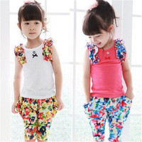 XYFS 007 Clothing Set New Nova Girl Sets Baby Wear Printing Cartoon Flower T Shirts And