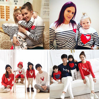 Autumn And Winter 2015 Cotton T Shirt Stripe Mother And Daughter Father Son Clothes Matching Family