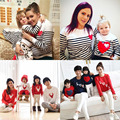 Mommy and me mãe filha filho pai natal t-shirt listrado crianças roupa do bebê outfits roupas família correspondência olhar família