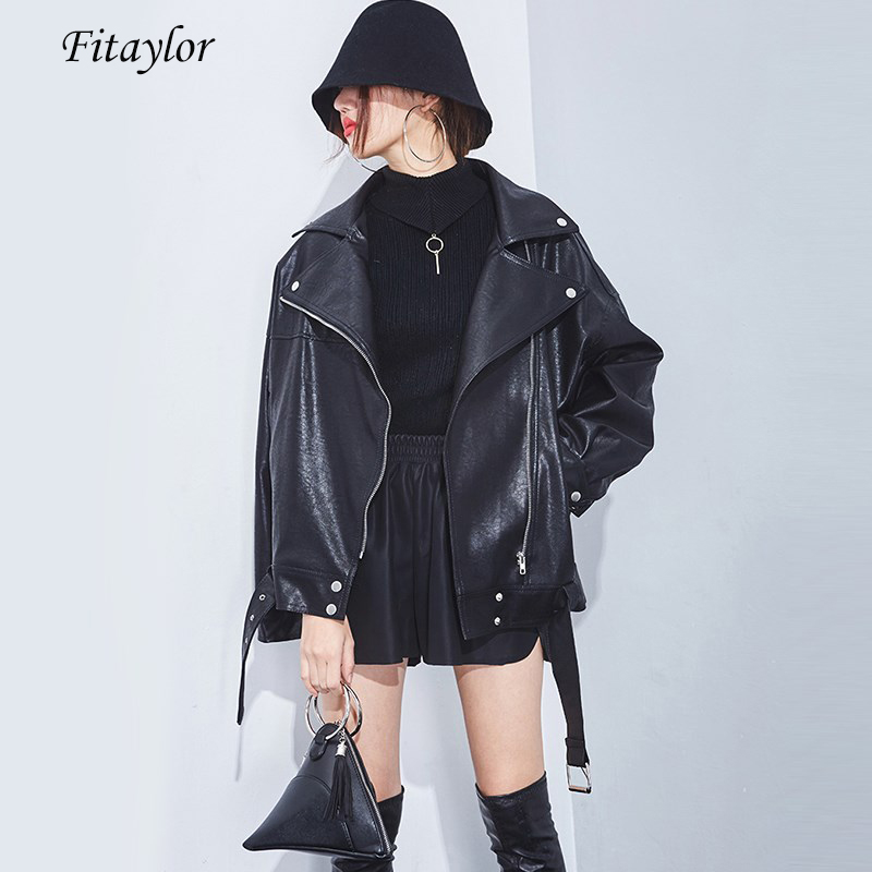 Fitaylor Spring Autumn Faux Soft Leather Jacket Casual Loose Black Punk Leather Coat Female PU Motorcycle Zipper Bomber Overcoat