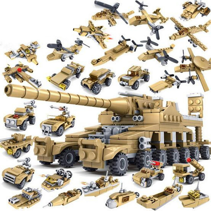 New 16 In 1 Transformation Military Weapons Tank Puzzle Assembling Model Building Blocks Kit Toys Kids Gifts(China)