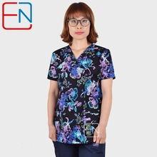 Women Scrub Tops   With V Neck 100% Cotton   Short Sleeve Cartoon Print  Scrubs Top Female