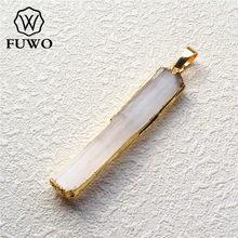 FUWO Wholesale Natural Selenite Bar Pendants 24K Gold Electroplate Crystal Blade Fashion Women Jewelry PD024