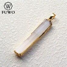 FUWO toptan doğal Selenite Bar kolye 24K altın elektrolizle kristal bıçak moda kadınlar takı PD024