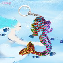 Taoup 1pc Gradient สี Rainbow Sequins Little Mermaid Keychain Happy วันเกิด Mermaid Theme Party Decor สำหรับสาวจี้ DIY(China)