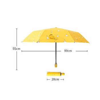 Cartoon Duck Design Automatic Umbrella Yellow Windproof UV Protect Umbrella For Women Girl Sunny And Rainy Folding Umbrellas