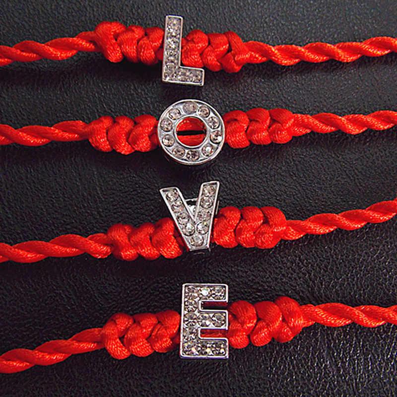 1 Pza caliente A-Z 26 letras hilo rojo cadena pulseras con letras cuerda roja encanto mujeres pulsera de la suerte Aolly joyería regalo para pareja