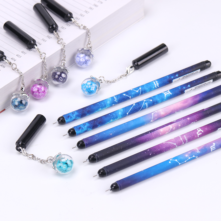 1PC Kawaii Pen 12 Constellations Starry Sky Wishing Bottle Pendant Gel Ink Pen For Gift Stationery School Office Supplies
